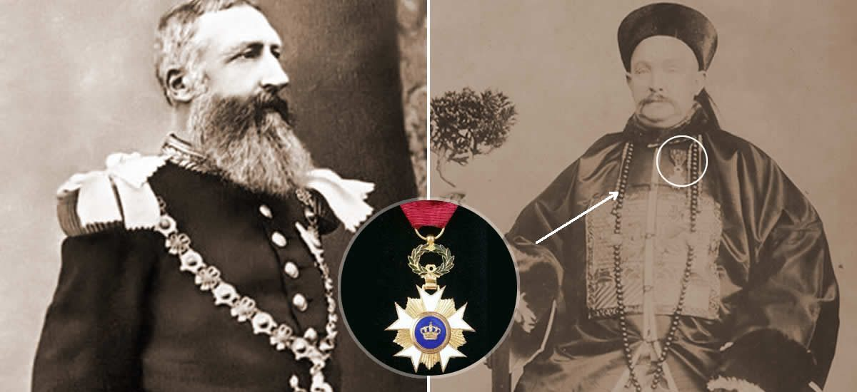 "Leopold II of Belgium knghts Paul ""Order of the Crown"", medal in 1897"