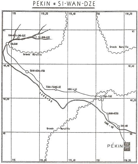 Map of path from Peking to Kalgan